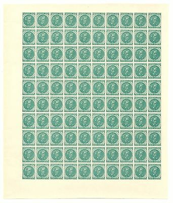 Confederate Unused Two Cents Stamp Sheet, 1862-64 CSA #14, Green