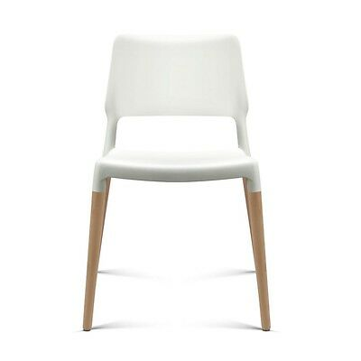 Set of 4 White Dining Cafe Chairs with Timber Legs