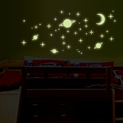 Special Creative Star of The World Moon Luminous Fluorescent PVC Wall Stickers