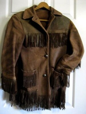 Vintage Fringe Rough Leather Coat - Frontier/Stage - Small Adult/Youth