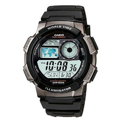 Casio AE-1000W-1B Black Silver-Tone Digital Sports Watch Retail Box Included