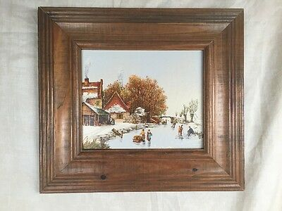 R SMITH PAINTING SIGNED, Winter Scene BEAUTIFULLY FRAMED