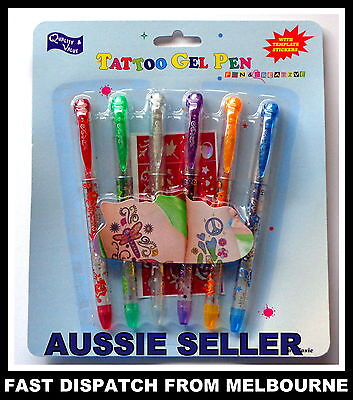 KIDS TATTOO GEL PENS 7pcs Temporary Tattoo Pens, Non-Toxic Washable AUSSIE