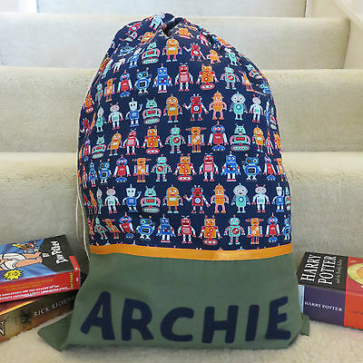 CHILD'S / BOYS PERSONALISED NAME LIBRARY BAG / TOY BAG - Robots Print -
