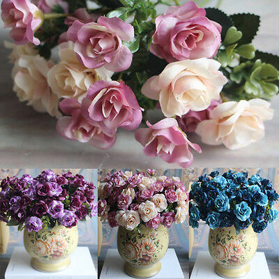 15 Heads Artificial Silk Fake Flowers Rose Wedding Floral Home Decor Bouquet