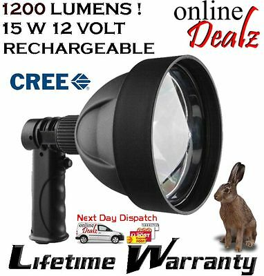 15W Cree T6 12V Rechargeable Led Hunting Shooting Spotlight  Handheld  +Chargers