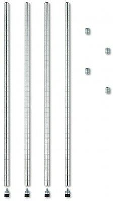 Alera Stackable 4-Pack Posts For Wire Shelving, 36-Inch, Silver