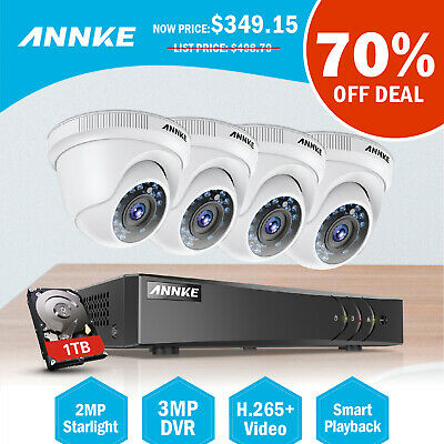 ANNKE 8CH 1080P DVR HD-CVI Outdoor Night Vision Home CCTV Security Camera System