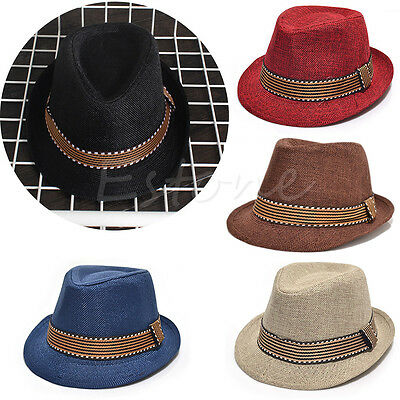 Boys Girls Baby Kids Jazz Cap Pinch Crown Rolled Brim Trilby Fedora Hat Vintage