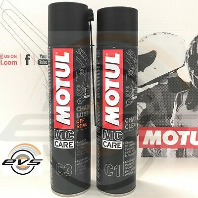 Kit Pulisci Catena Motul C1 + Grasso Spray Motul C3 Moto Cross Enduro 2x400ml