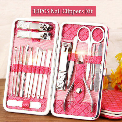 12Pcs Manicure Pedicure Set Finger Toe Nail Care Clippers Scissors Grooming Kit