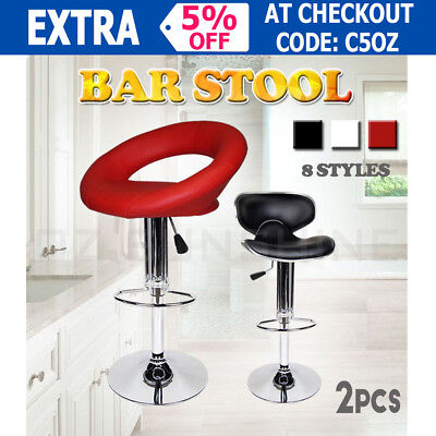 2 x PU PVC Leather Chair Bar Stool Kitchen Dining Home Gas Lift Coffee House New