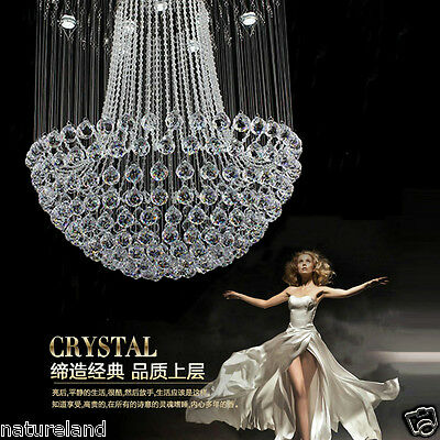 Crystal LED Ceiling Lamp hang light Fixture Curtain Pendant hall Chandelier t1