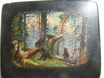 "GREAT OLDER- Russian Fedoskino BOX  ""Morning in a pine forest""-  above-100 years"