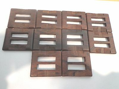 Finished Wood Buckle slides Art Deco Lot of 10 Sewing Crafts 2 X 1 3/4
