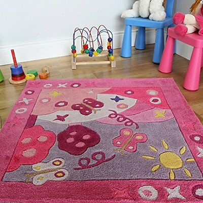 Girls Colourful Pink Butterfly Soft Princess Kids Playroom Rug 90 x 90cm