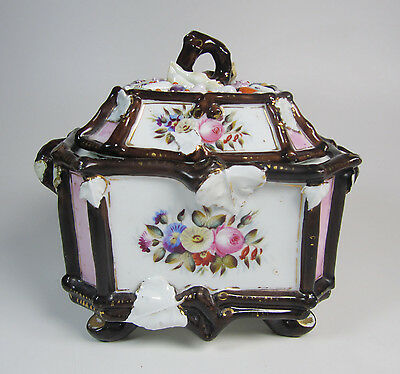 Antique Victorian Porcelain Decorated Biscuit Cookie Jar