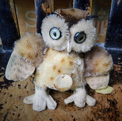 STEIFF VINTAGE 1954 10cm MINIATURE MOHAIR WITTIE OWL WINGS OUT BUTTON + IDs
