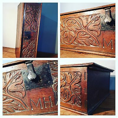18th Century Oak Carved Fronted Bible Box