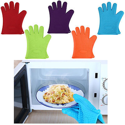 Kitchen Heat Resistant Silicone Glove Oven Pot Holder Baking BBQ Cook Mitts NEW