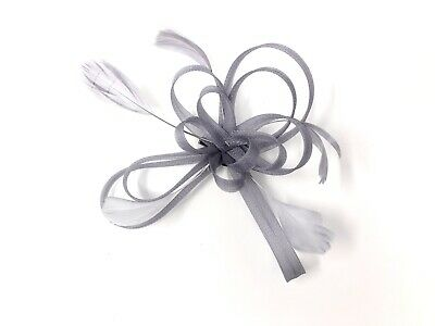 Silver / Grey Feather Fascinator Hair Clip Ladies Day Races Party Wedding