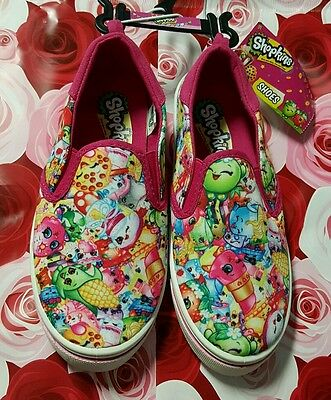 Shopkins girl shoes slip on canvas shopkin print  pink size 2 NWT!!