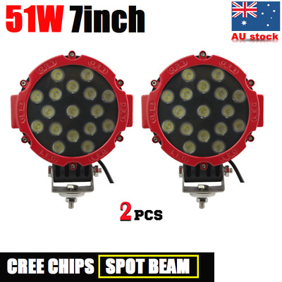 2x 51W 7INCH CREE LED DRIVING LIGHT OFFROAD SPOTLIGHT WORK LIGHT BAR AUTO LAMP
