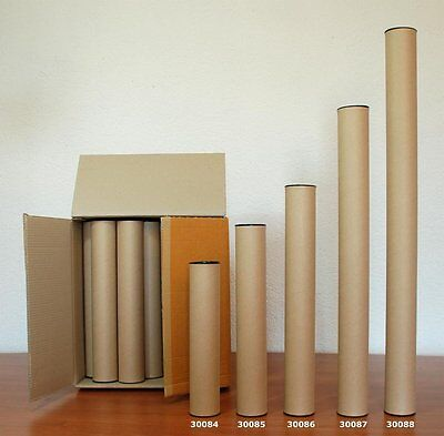 Pack 30 cardboard mail tubes 1 m long with plastic caps, very strong (30088)