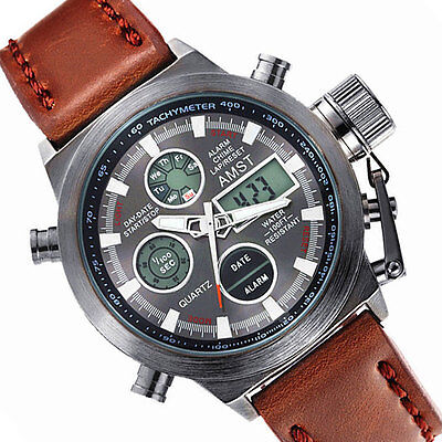 AMST Mens Date Luminous Sport Army Quartz Wrist Watch Leather Strap