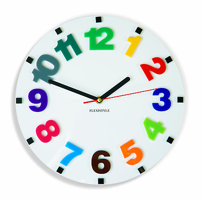 Modern wall clock for kids NUMBERS, 6 variants available Silent/No Ticking