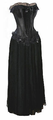 Black Corset Long Skirt Prom Burlesque Formal Lolita Lace Bridesmaid Costume