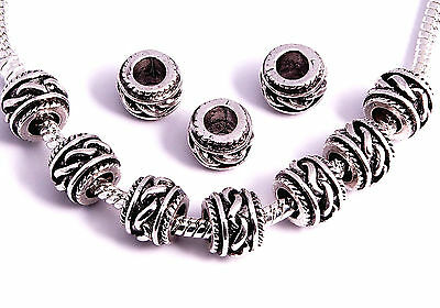 ANTIQUE SILVER~TUBE~TIBETAN STYLE~EUROPEAN~SPACER BEADS~10 x 8 MM ~ 4.5 MM HOLE