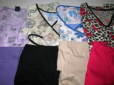 Womans Lot Of Scrub Sets, 4 Tops, 4 Pants,  Nice Conition  Size  Sm (Box 334)