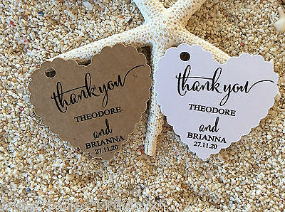 10 Kraft White Gift Tags Wedding Favour Bomboniere Personalised Heart Thank you