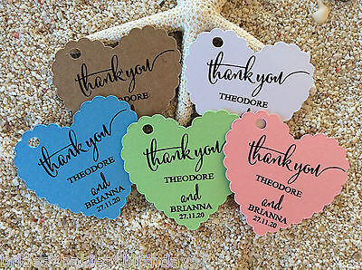10 Kraft Gift Tags Wedding Favour Bomboniere Personalised Heart Thank you