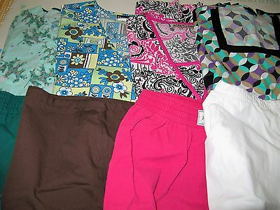 Womans Lot Of Scrub Sets, 4 Tops, 4 Pants,  Nice Conition  Size  Sm (Box 338)