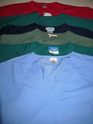 Unisex Lot Of Scrub Tops  6 Solid Tops  Chest Pocket  Size  Sm (Box 340)