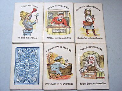 HAPPY FAMILIES COMPLETE 36 CARDS & BOX 1910-20 PLAYING CARDS ANTIQUE ROBERT BROs