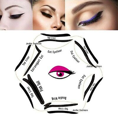 EYELINER Stencil - 6in1 Eyeshadow Guide - Smokey Cat - Quick Eye Makeup Tool Set