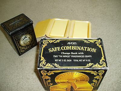 Vintage 1979  AVON SAFE COMBINATION Bank w/ 2 Gold Bar Soaps in Box - FREE SHIP!