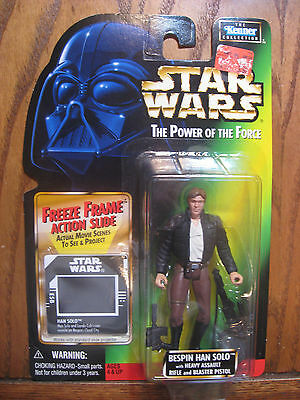 Star Wars Power of the Force - Bespin Han Solo Figure w/ Freeze Frame Slide 1997