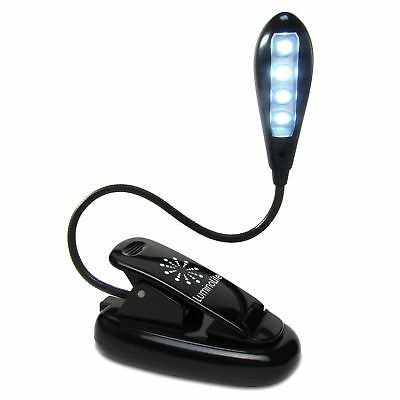 Extra-Bright 4 LED 'Rechargeable' Book Light By LuminoLite. Easy Clip On Read...