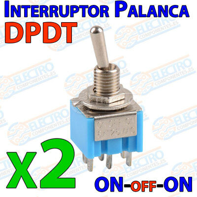 2x Interruptor Palanca DPDT ON-OFF-ON 6A 3 posiciones toggle switch 6 pines