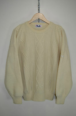 vtg 90s FILA BJ BORG CABLE KNIT CASUALS KNITTED WOOL JUMPER SWEATER size D50 M