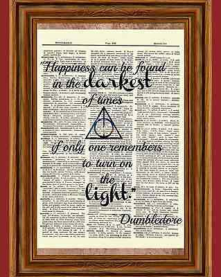 Harry Potter Dictionary Art Print Picture Dumbledore Happiness Light Quote