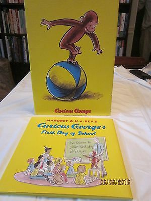 """Curious George Wall Art """"Plays on a Ball"""" 14"""" by 10"""" & book 1st Day of School"""
