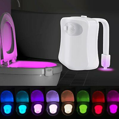 8-Color Home Toliet Bathroom Human Body Auto Motion Sensor Seat Light Night Lamp