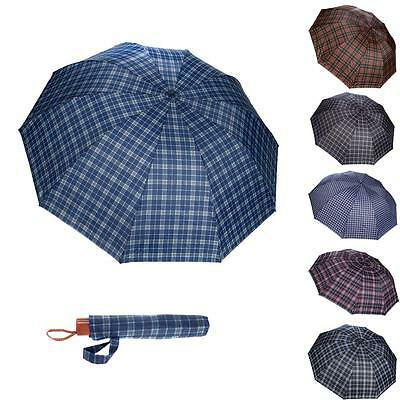 Fashion Tartan Plaid Umbrella Women Anti-UV Compact Folding Rain Parasol Vintage