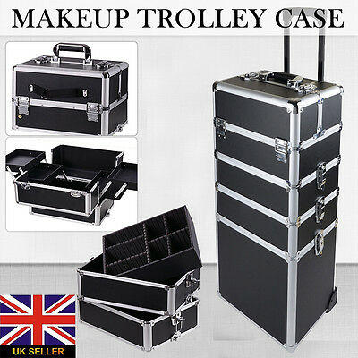 Pro 4in1 Interchangeable Aluminum Rolling Makeup Case Cosmetic Train Trolley Box