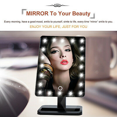 21 LED Lighting Cosmetic Make Up Square Mirror Adjustable Stand Touch Switch CA